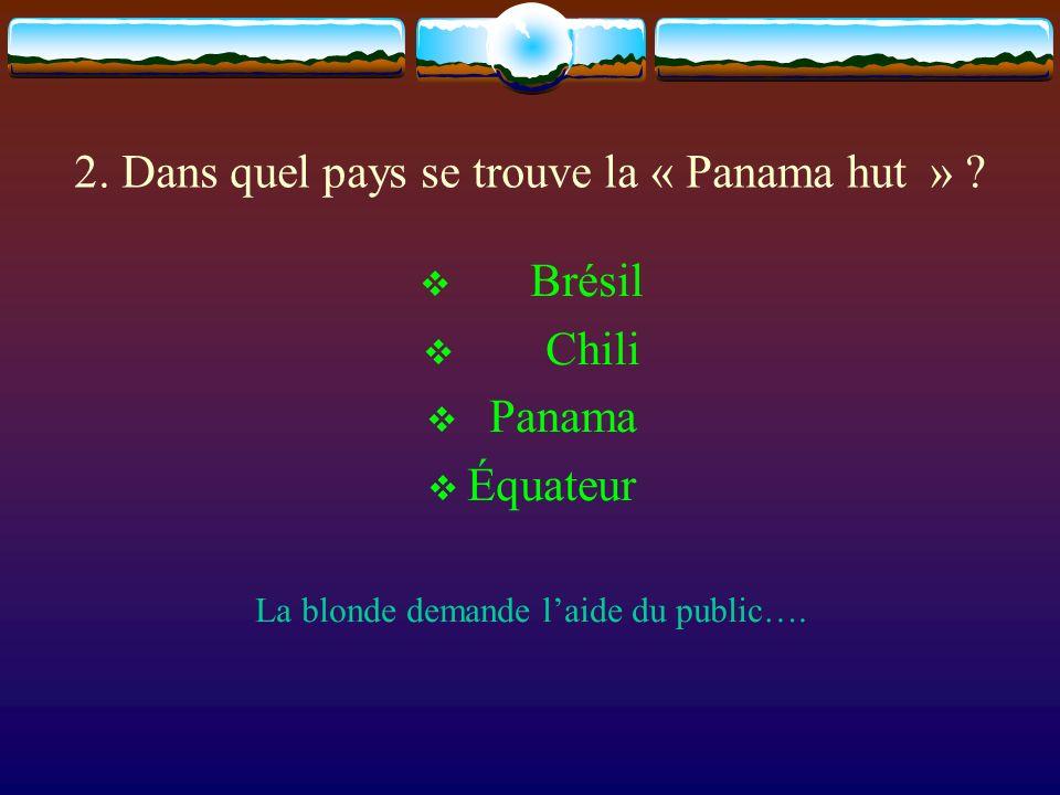 2.Dans quel pays se trouve la « Panama hut » .