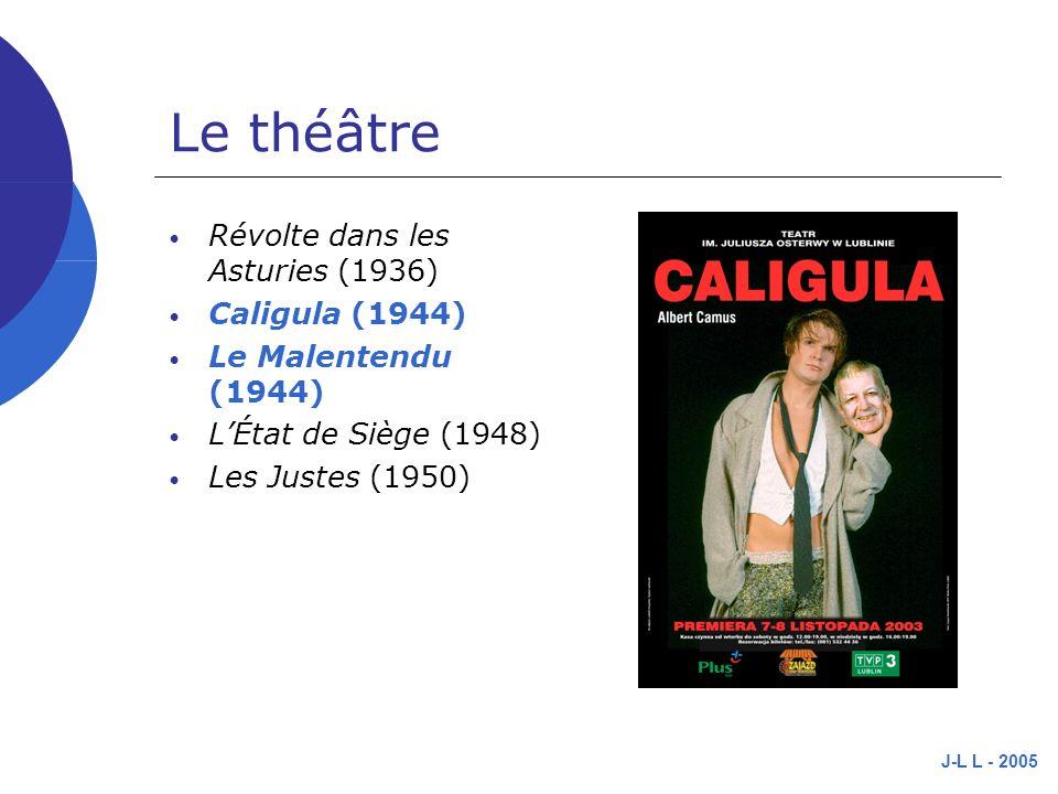 J-L L - 2005 Le théâtre Révolte dans les Asturies (1936) Caligula (1944) Le Malentendu (1944) LÉtat de Siège (1948) Les Justes (1950)