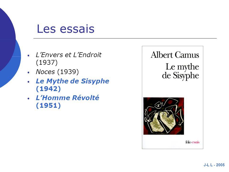 J-L L - 2005 Les essais LEnvers et LEndroit (1937) Noces (1939) Le Mythe de Sisyphe (1942) LHomme Révolté (1951)