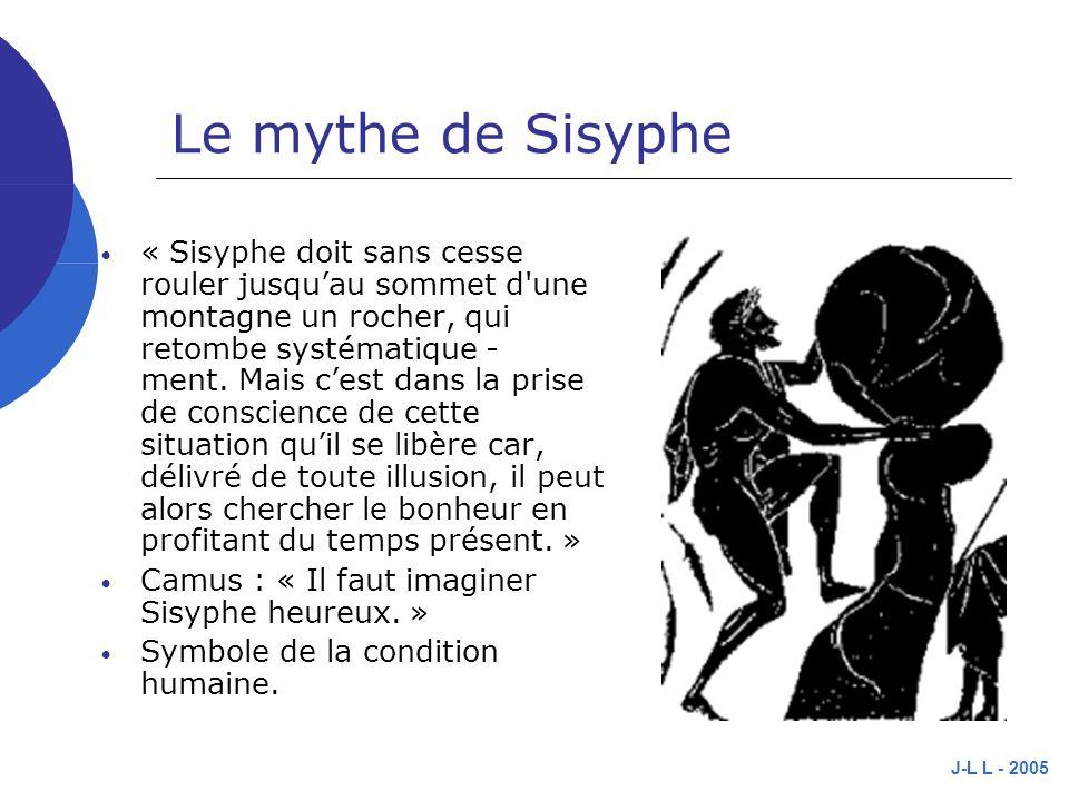 J-L L - 2005 Le mythe de Sisyphe « Sisyphe doit sans cesse rouler jusquau sommet d une montagne un rocher, qui retombe systématique - ment.
