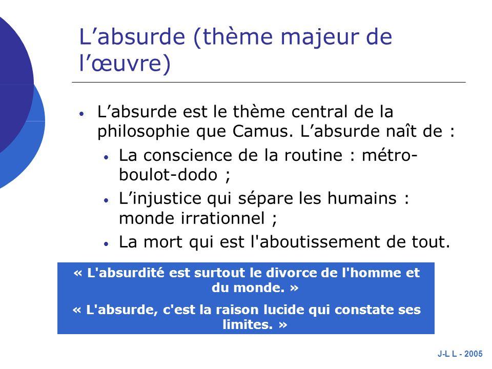 J-L L - 2005 Labsurde (thème majeur de lœuvre) Labsurde est le thème central de la philosophie que Camus.