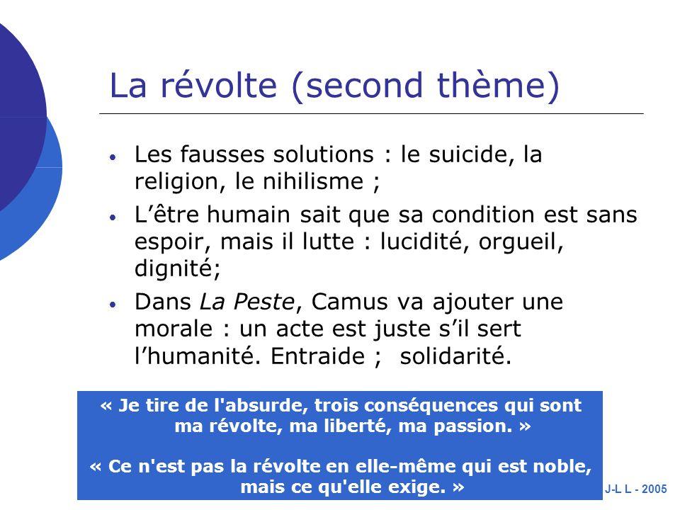 J-L L - 2005 La révolte (second thème) Les fausses solutions : le suicide, la religion, le nihilisme ; Lêtre humain sait que sa condition est sans espoir, mais il lutte : lucidité, orgueil, dignité; Dans La Peste, Camus va ajouter une morale : un acte est juste sil sert lhumanité.