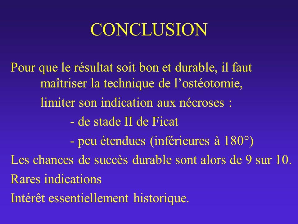 CONCLUSION Pour que le résultat soit bon et durable, il faut maîtriser la technique de lostéotomie, limiter son indication aux nécroses : - de stade I