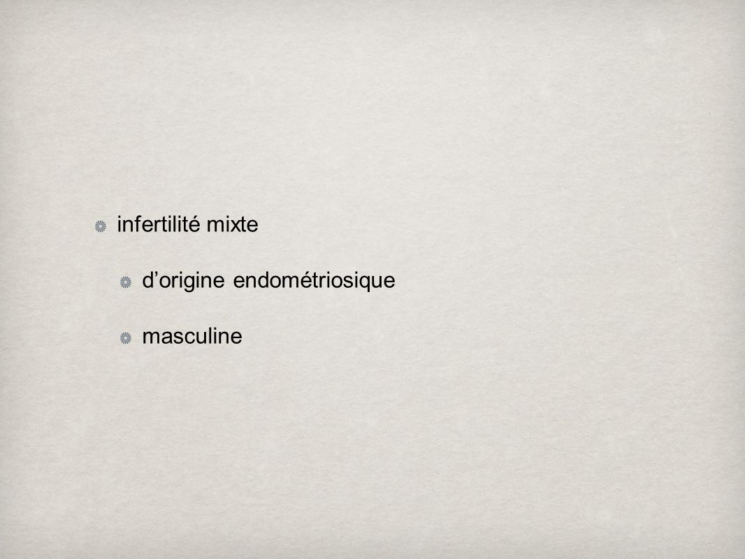 infertilité mixte dorigine endométriosique masculine