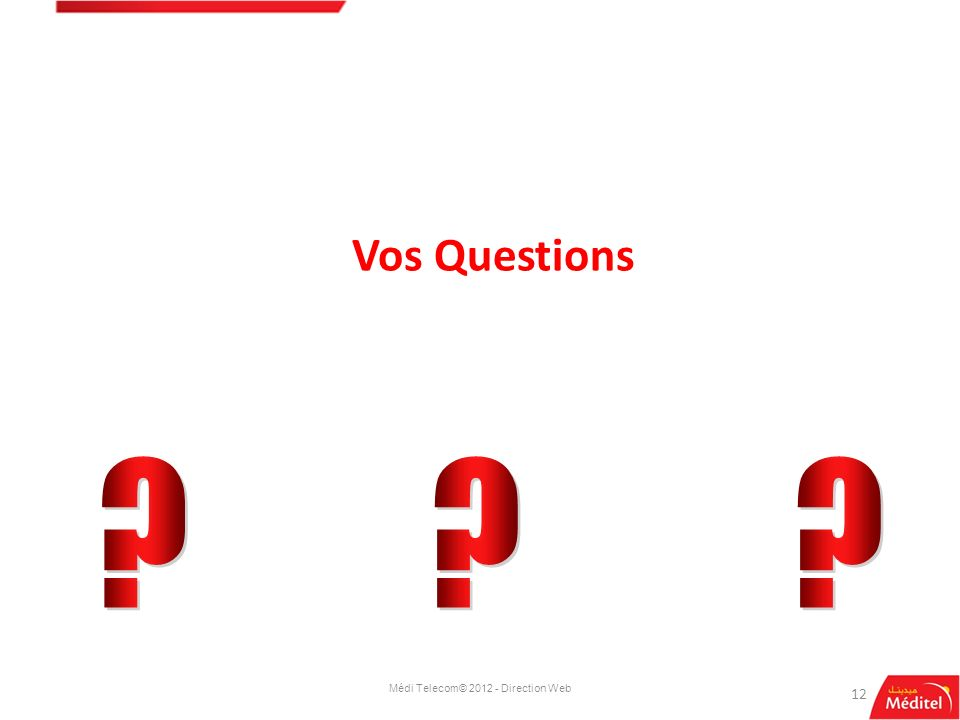 12 Vos Questions Médi Telecom© 2012 - Direction Web