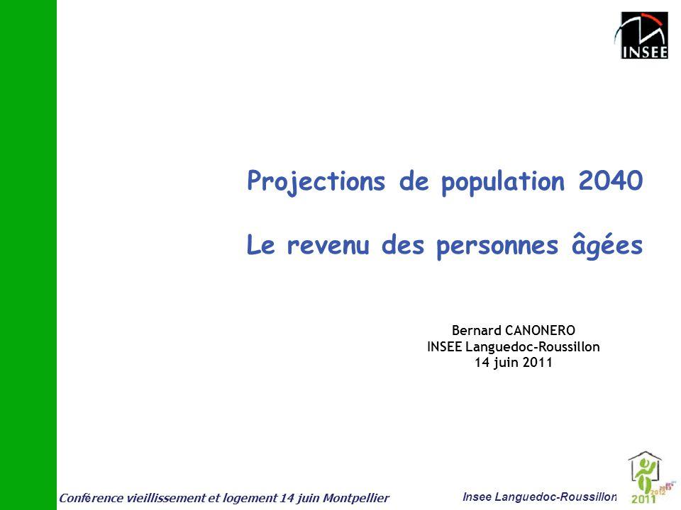 Conf é rence vieillissement et logement 14 juin Montpellier Insee Languedoc-Roussillon Projections de population 2040 Le revenu des personnes âgées Be