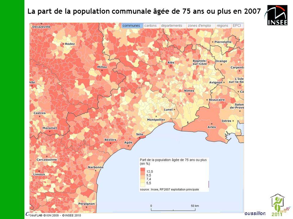 Conf é rence vieillissement et logement 14 juin Montpellier Insee Languedoc-Roussillon La part de la population communale âgée de 75 ans ou plus en 20