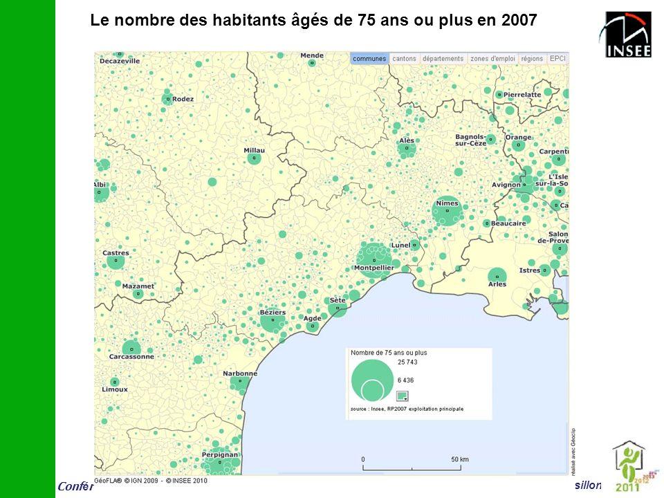 Conf é rence vieillissement et logement 14 juin Montpellier Insee Languedoc-Roussillon Le nombre des habitants âgés de 75 ans ou plus en 2007