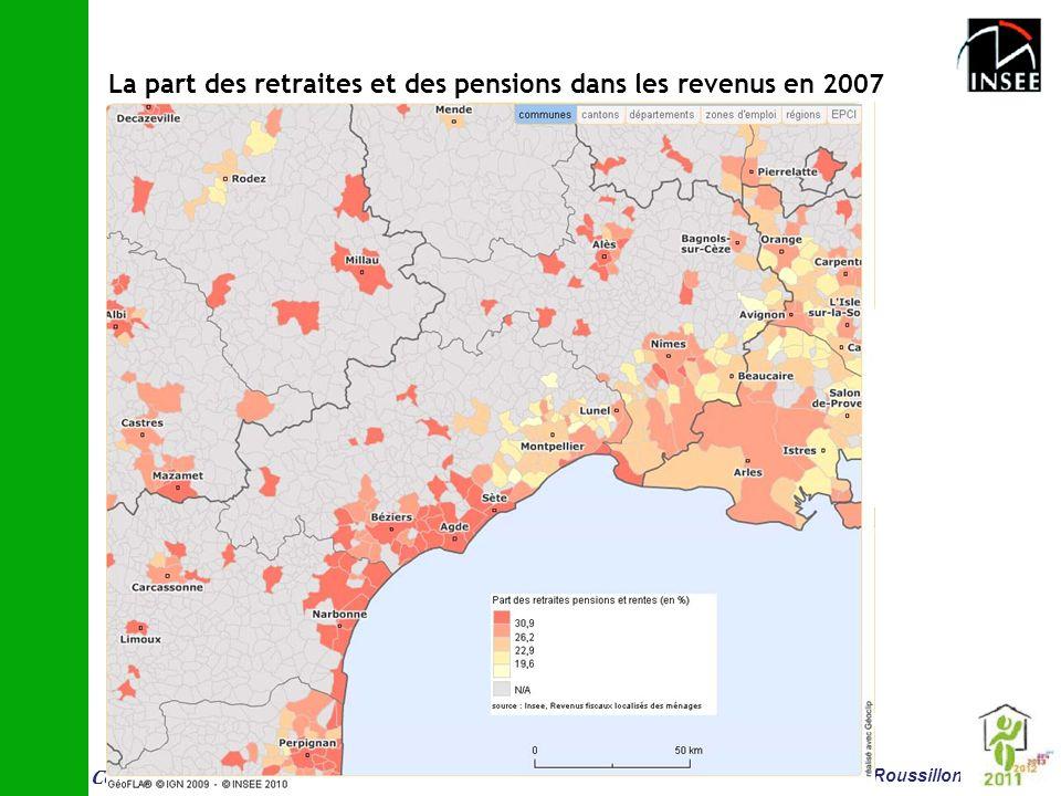 Conf é rence vieillissement et logement 14 juin Montpellier Insee Languedoc-Roussillon La part des retraites et des pensions dans les revenus en 2007