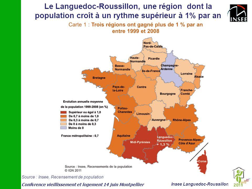 Conf é rence vieillissement et logement 14 juin Montpellier Insee Languedoc-Roussillon Le Languedoc-Roussillon, une région dont la population croît à