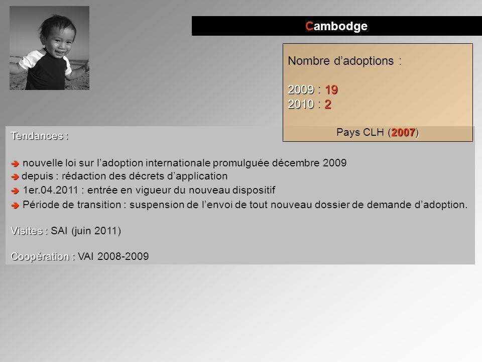 Cambodge Tendances : nouvelle loi sur ladoption internationale promulguée décembre 2009 depuis : rédaction des décrets dapplication 1er.04.2011 : entr