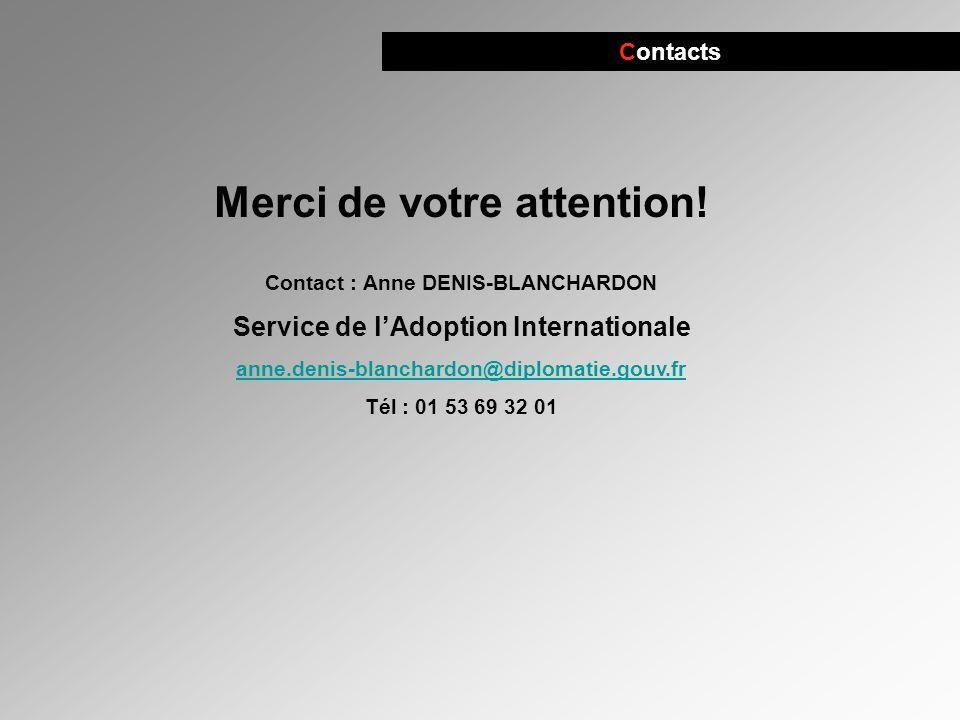 Contacts Merci de votre attention! Contact : Anne DENIS-BLANCHARDON Service de lAdoption Internationale anne.denis-blanchardon@diplomatie.gouv.fr Tél