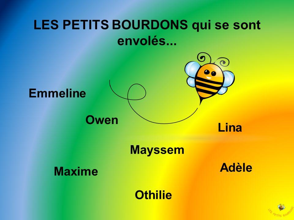 LES PETITS BOURDONS qui se sont envolés... Emmeline Maxime Owen Othilie Mayssem Lina Adèle
