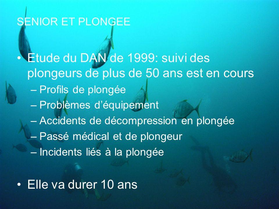 SENIOR ET PLONGEE Etude du DAN de 1999: suivi des plongeurs de plus de 50 ans est en cours –Profils de plongée –Problèmes déquipement –Accidents de dé
