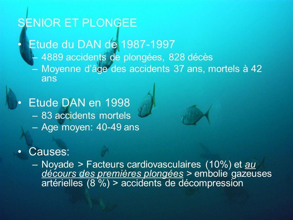 SENIOR ET PLONGEE Etude du DAN de 1987-1997 –4889 accidents de plongées, 828 décès –Moyenne dâge des accidents 37 ans, mortels à 42 ans Etude DAN en 1