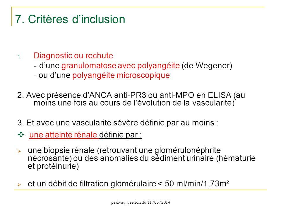 1. Diagnostic ou rechute - dune granulomatose avec polyangéite (de Wegener) - ou dune polyangéite microscopique 2. Avec présence dANCA anti-PR3 ou ant