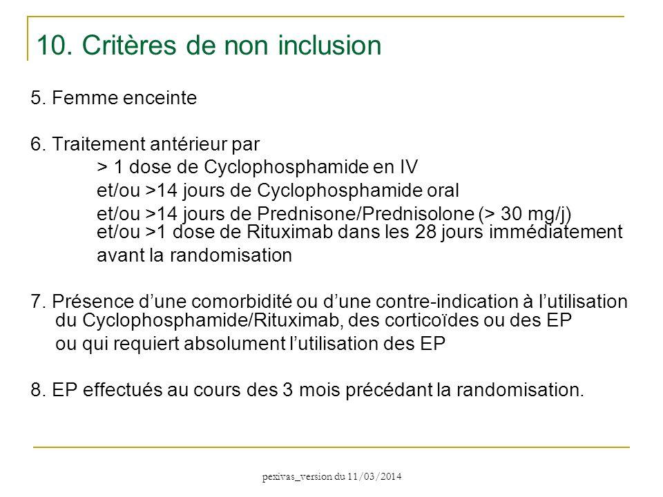 5. Femme enceinte 6. Traitement antérieur par > 1 dose de Cyclophosphamide en IV et/ou >14 jours de Cyclophosphamide oral et/ou >14 jours de Prednison