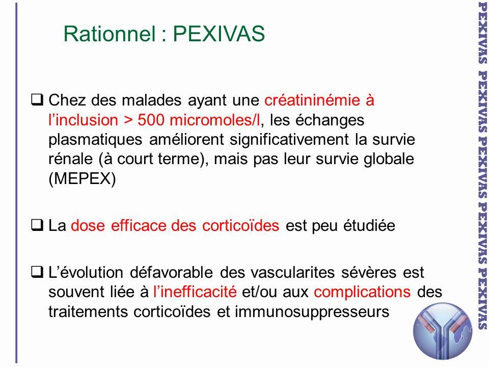 Chez des malades ayant une créatininémie à linclusion > 500 micromoles/l, les échanges plasmatiques améliorent significativement la survie rénale (à c