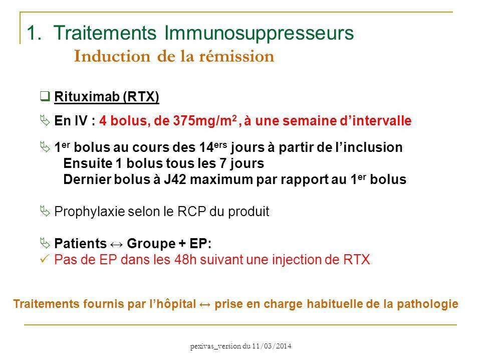 1. Traitements Immunosuppresseurs Induction de la rémission Rituximab (RTX) En IV : 4 bolus, de 375mg/m 2, à une semaine dintervalle 1 er bolus au cou