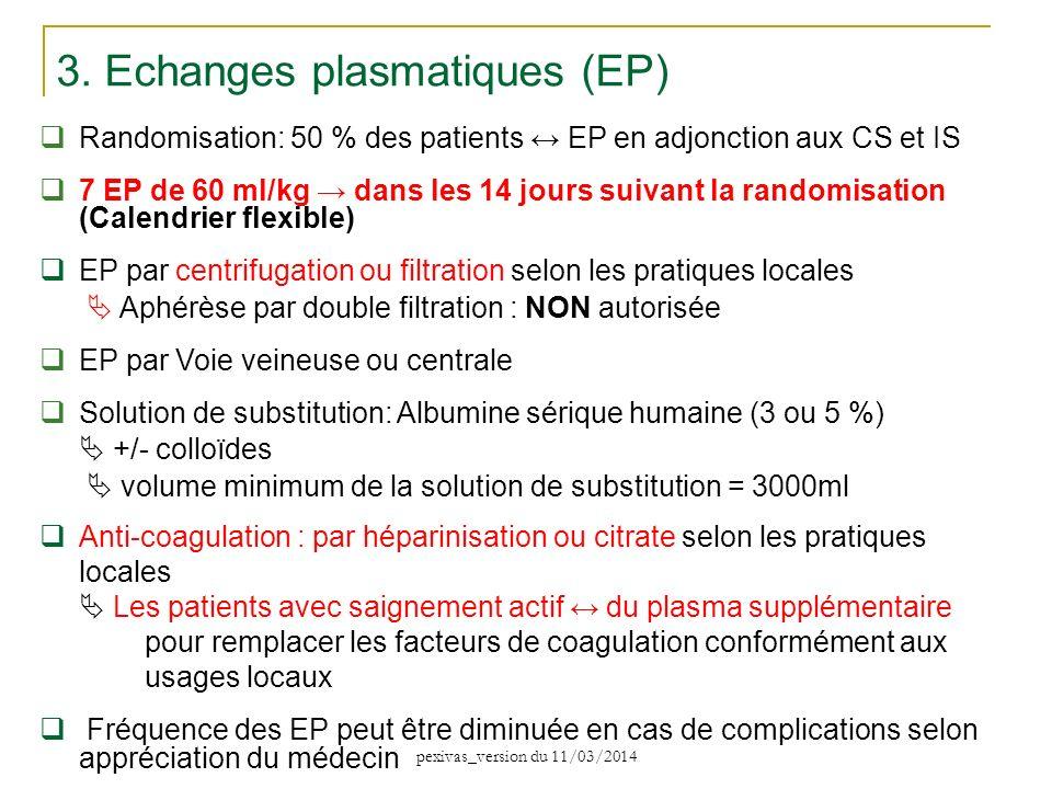 3. Echanges plasmatiques (EP) Randomisation: 50 % des patients EP en adjonction aux CS et IS 7 EP de 60 ml/kg dans les 14 jours suivant la randomisati