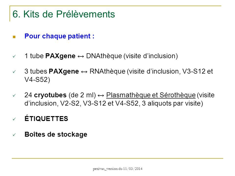 Pour chaque patient : 1 tube PAXgene DNAthèque (visite dinclusion) 3 tubes PAXgene RNAthèque (visite dinclusion, V3-S12 et V4-S52) 24 cryotubes (de 2
