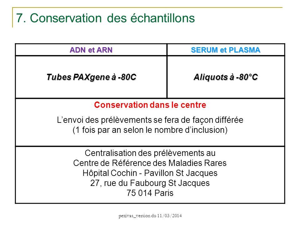 ADN et ARN SERUM et PLASMA Tubes PAXgene à -80C Aliquots à -80°C Conservation dans le centre Lenvoi des prélèvements se fera de façon différée (1 fois