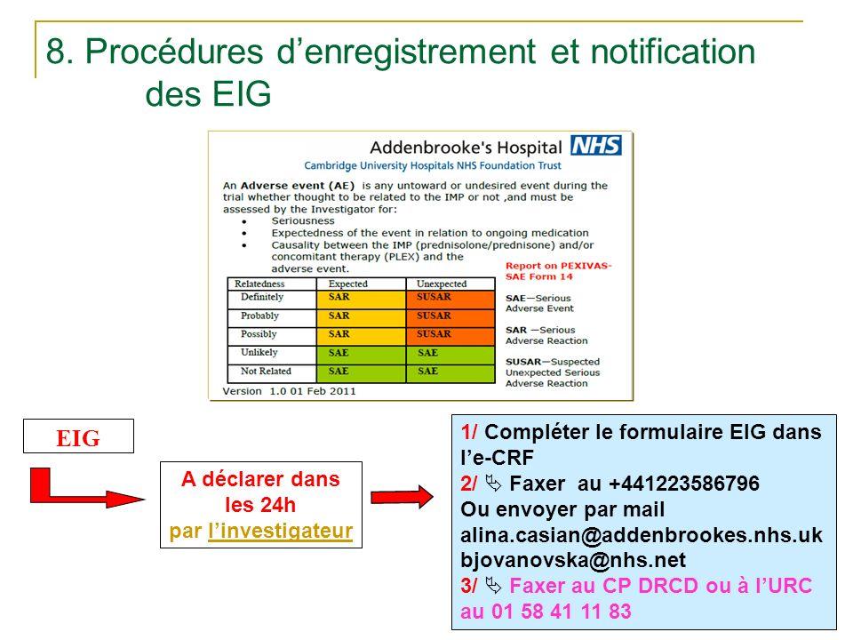 8. Procédures denregistrement et notification des EIG pexivas_version du 11/03/2014 A déclarer dans les 24h par linvestigateur EIG 1/ Compléter le for