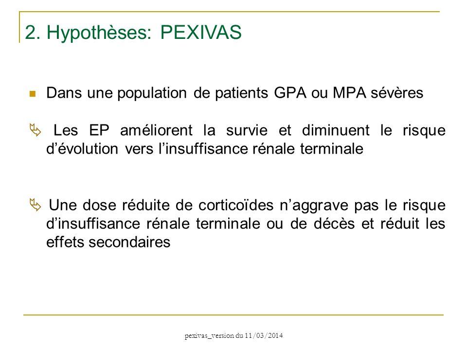Dans une population de patients GPA ou MPA sévères Les EP améliorent la survie et diminuent le risque dévolution vers linsuffisance rénale terminale U