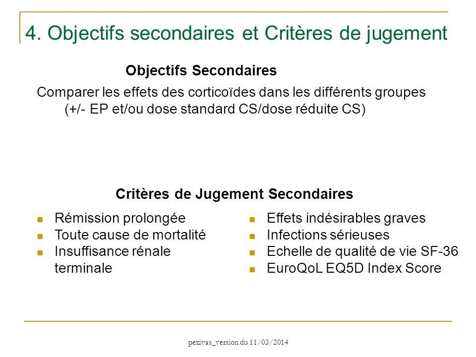 Comparer les effets des corticoïdes dans les différents groupes (+/- EP et/ou dose standard CS/dose réduite CS) Objectifs Secondaires 4. Objectifs sec