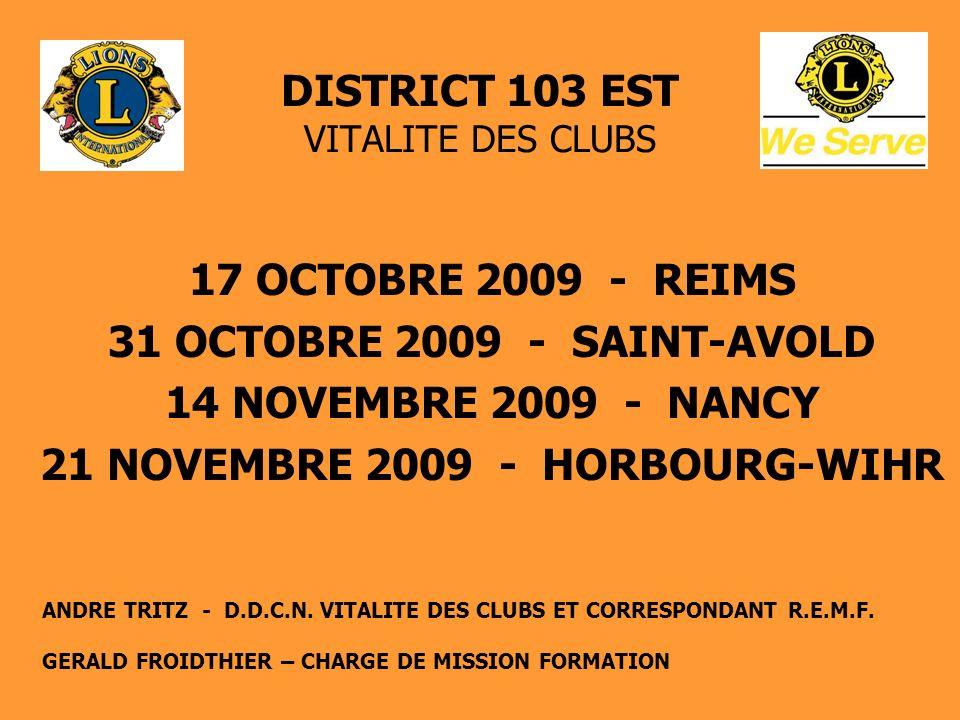 DISTRICT 103 EST VITALITE DES CLUBS CREATION DE NOUVEAUX CLUBS Détermination des zones de création potentielle : 9 - Arrondissement de REIMS - secteur AMNEVILLE - AUDIN-LE-TICHE/VILLERUPT - secteur BITCHE - secteur Est LUNEVILLE - arrondissement de SAVERNE - arrondissement de RIBEAUVILLE (seul arrondissement sans LIONS CLUB) - axe ENSISHEIM/WITTENHEIM- NEUFCHÂTEAU Réflexion à mener par un Lions motivé (par exemple ancien PZ) en relation avec le ou les Clubs du secteur, dont le futur Club parrain.