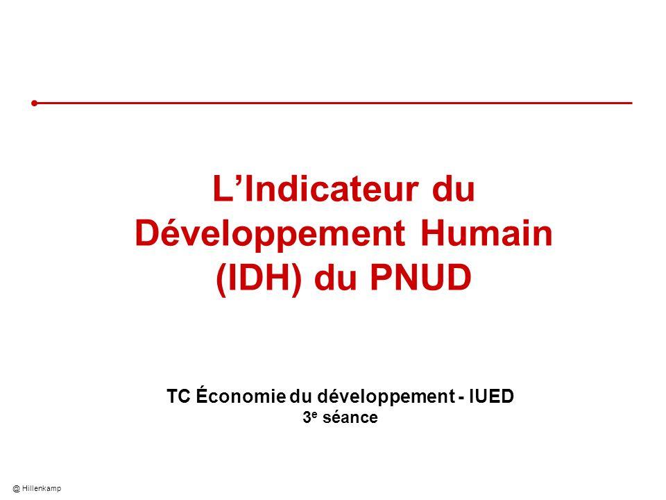 @ Hillenkamp LIndicateur du Développement Humain (IDH) du PNUD TC Économie du développement - IUED 3 e séance