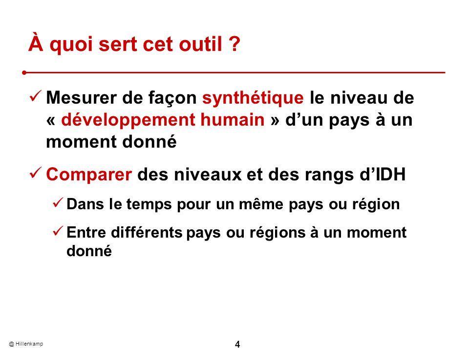 @ Hillenkamp 4 À quoi sert cet outil ? Mesurer de façon synthétique le niveau de « développement humain » dun pays à un moment donné Comparer des nive