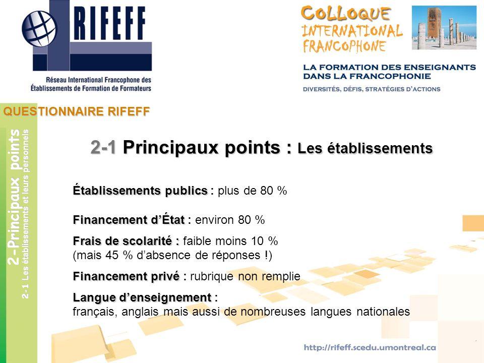 QUESTIONNAIRE RIFEFF Principaux points 2-Principaux points 2-1 Les établissements et leurs personnels 2-1 Principaux points : Les établissements Établ