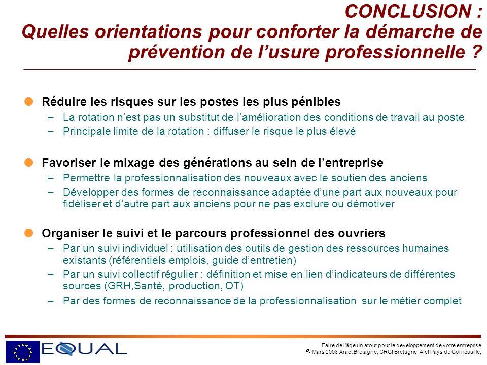 Faire de lâge un atout pour le développement de votre entreprise Mars 2008 Aract Bretagne, CRCI Bretagne, Alef Pays de Cornouaille, Réduire les risque