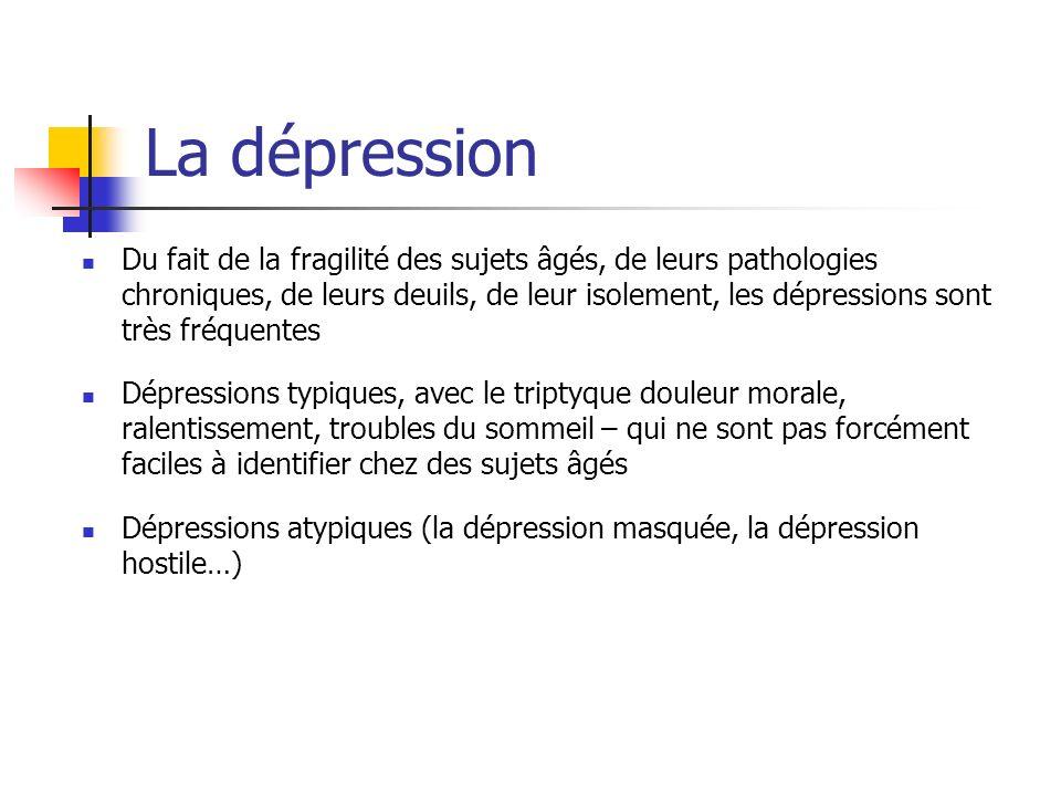 La dépression Du fait de la fragilité des sujets âgés, de leurs pathologies chroniques, de leurs deuils, de leur isolement, les dépressions sont très