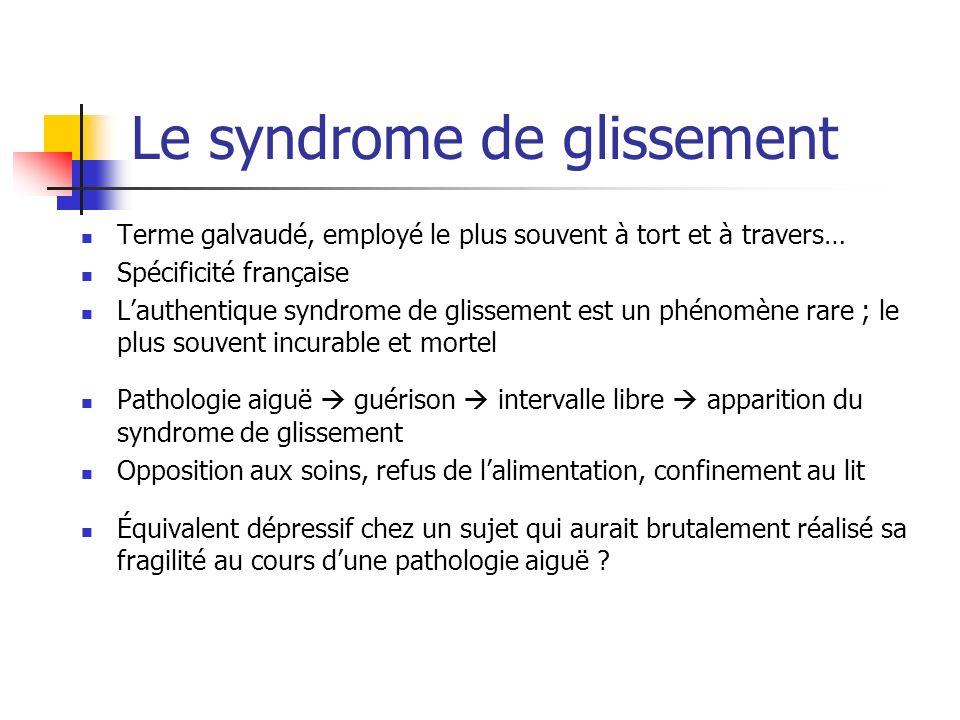Le syndrome de glissement Terme galvaudé, employé le plus souvent à tort et à travers… Spécificité française Lauthentique syndrome de glissement est u