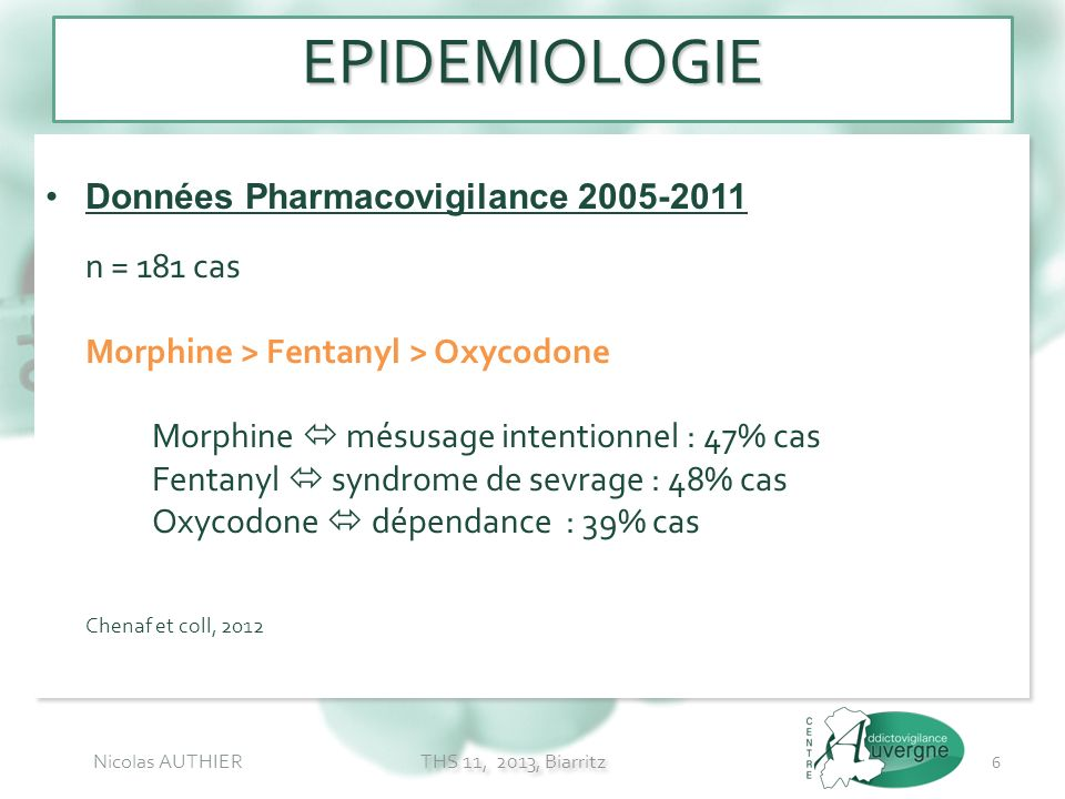 Nicolas AUTHIER Données Pharmacovigilance 2005-2011 n = 181 cas Morphine > Fentanyl > Oxycodone Morphine mésusage intentionnel : 47% cas Fentanyl synd