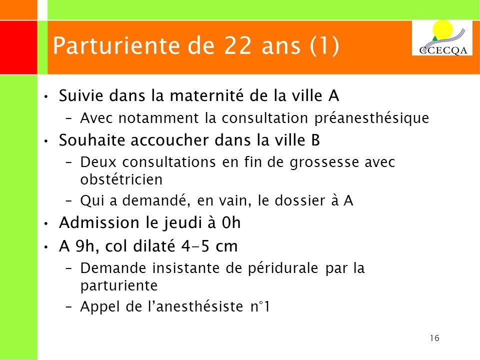 16 Parturiente de 22 ans (1) Suivie dans la maternité de la ville A –Avec notamment la consultation préanesthésique Souhaite accoucher dans la ville B