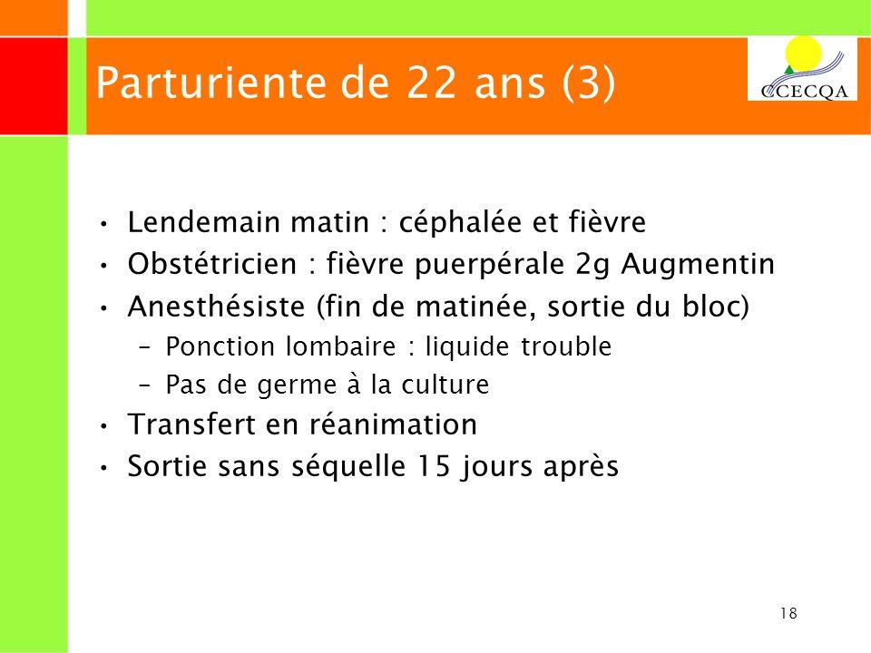 18 Parturiente de 22 ans (3) Lendemain matin : céphalée et fièvre Obstétricien : fièvre puerpérale 2g Augmentin Anesthésiste (fin de matinée, sortie d