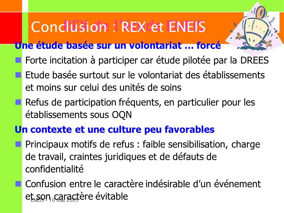 ENEIS - 10 mai 2005 REX de létude ENEIS Une étude basée sur un volontariat … forcé Forte incitation à participer car étude pilotée par la DREES Etude