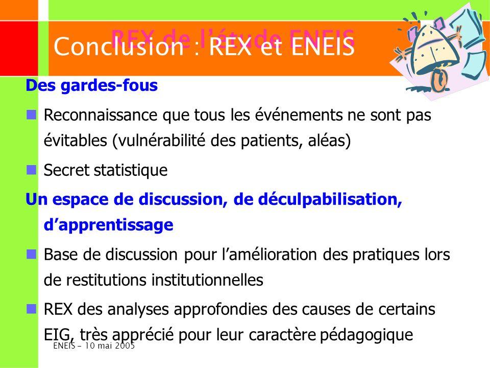 ENEIS - 10 mai 2005 REX de létude ENEIS Des gardes-fous Reconnaissance que tous les événements ne sont pas évitables (vulnérabilité des patients, aléa