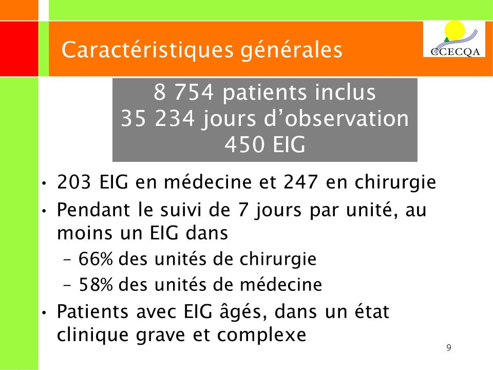9 Caractéristiques générales 203 EIG en médecine et 247 en chirurgie Pendant le suivi de 7 jours par unité, au moins un EIG dans –66% des unités de ch