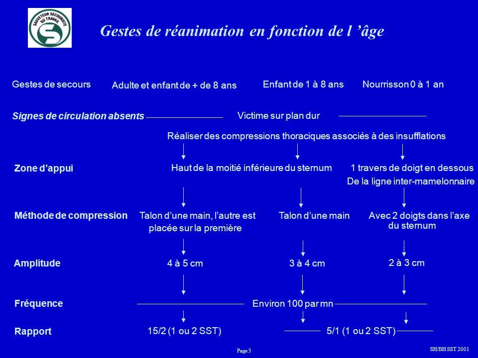 Gestes de réanimation en fonction de l âge Gestes de secours Adulte et enfant de + de 8 ans Enfant de 1 à 8 ansNourrisson 0 à 1 an SH/BH SST 2001 Page