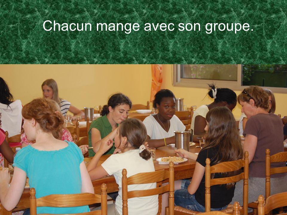 Chacun mange avec son groupe.