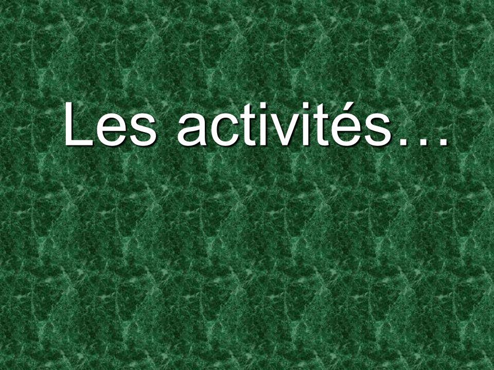 Les activités…