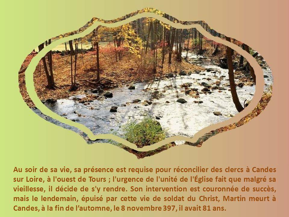 Tout ce monde voyage à travers les campagnes à pied, à dos dâne et par la Loire ; car Martin est toujours escorté de ses moines et disciples, sans doute en grande partie pour des raisons de sécurité car il ne manque pas de voyager très loin de Tours.