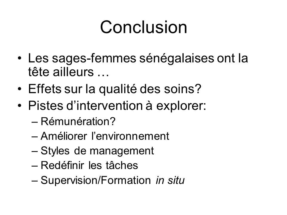 Conclusion Les sages-femmes sénégalaises ont la tête ailleurs … Effets sur la qualité des soins? Pistes dintervention à explorer: –Rémunération? –Amél
