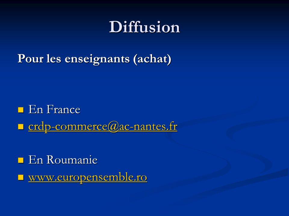 Diffusion Pour les enseignants (achat) En France En France crdp-commerce@ac-nantes.fr crdp-commerce@ac-nantes.fr crdp-commerce@ac-nantes.fr En Roumanie En Roumanie www.europensemble.ro www.europensemble.ro www.europensemble.ro
