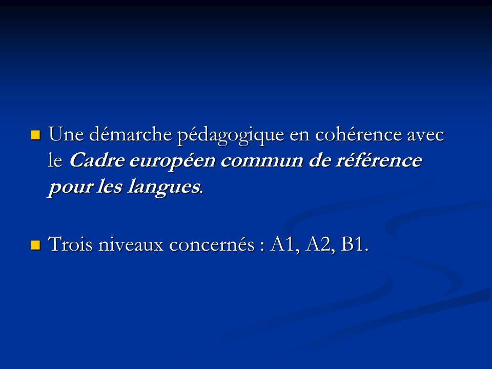 Une démarche pédagogique en cohérence avec le Cadre européen commun de référence pour les langues.