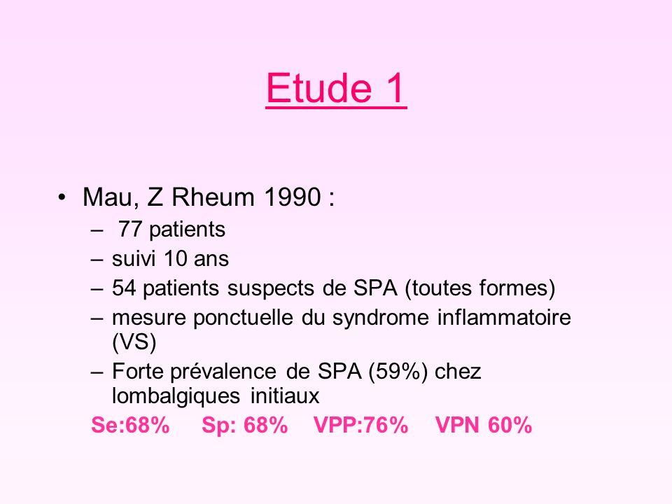 Etude 1 Mau, Z Rheum 1990 : – 77 patients –suivi 10 ans –54 patients suspects de SPA (toutes formes) –mesure ponctuelle du syndrome inflammatoire (VS)